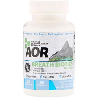 Advanced Orthomolecular Research AOR, ブレス バイオティクス、ミントフレーバー、60粒
