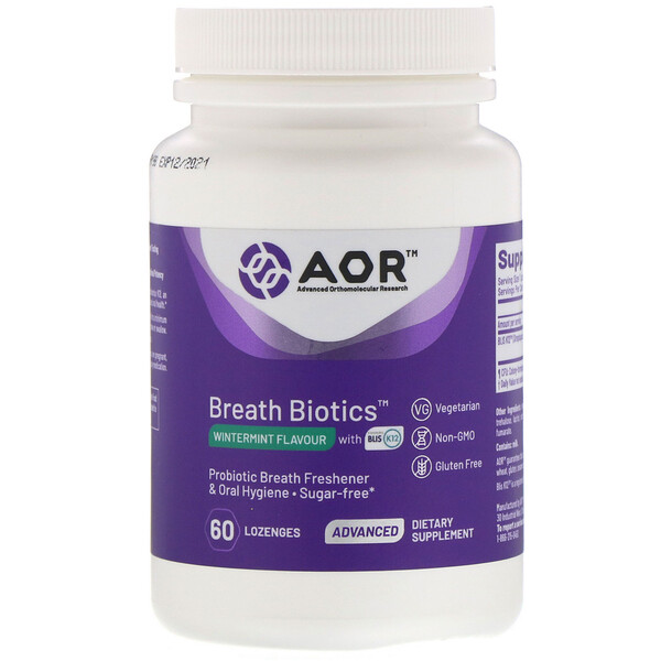 Advanced Orthomolecular Research AOR, ब्रीथ बायोटिक्स, विंटरमीट फ्लेवर ब्लिस K12 के साथ, 60 लोज़ेंज़