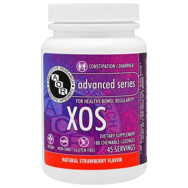 Advanced Orthomolecular Research AOR, XOS, Natural Strawberry Flavor, 180 Chewables