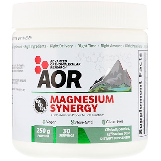 Advanced Orthomolecular Research AOR, Magnesium Synergy Powder, 250 g
