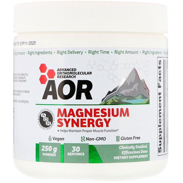 Advanced Orthomolecular Research AOR, Magnesium Synergy, 30 Servings (250 g)