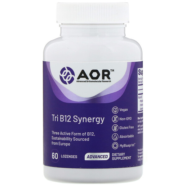 Advanced Orthomolecular Research AOR, Tri B12 Synergy, 60 Lozenges