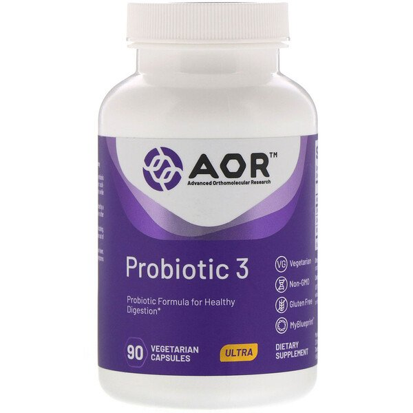 Advanced Orthomolecular Research AOR, Probiotic 3, 90 כמוסות צמחיות