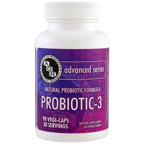 Advanced Orthomolecular Research AOR, Advanced Series, Probiotic-3, 90 Veggie Caps