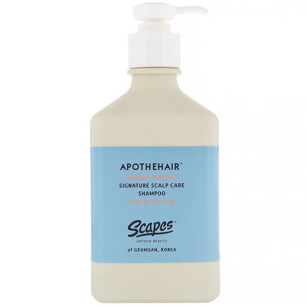 Scapes, Apothehair, Korean Ginseng, Signature Scalp Care Shampoo, 10.48 fl oz (310 ml) (Discontinued Item)