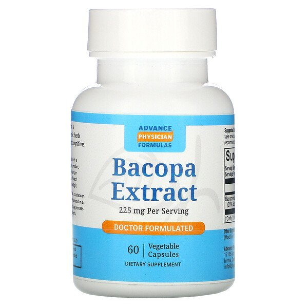 Extracto de bacopa, 225 mg, 60 cápsulas
