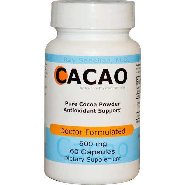 Advance Physician Formulas, Inc., カカオ、500 mg、60カプセル
