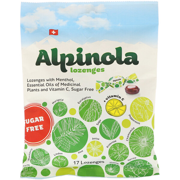 Alpinola, Lozenges with Menthol, Essential Oils and Vitamin C, Sugar Free, 17 Lozenges (Discontinued Item)