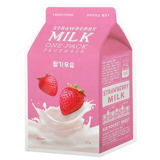A'Pieu, Strawberry Milk One-Pack Beauty Face Mask, Brightening, 1 Sheet, 21 g