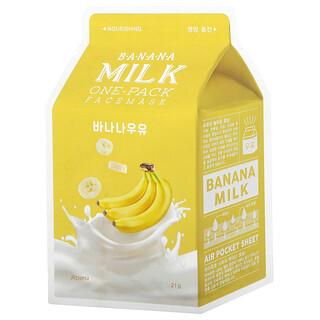 A'Pieu, Banana Milk One-Pack Beauty Face Mask, Nourishing, 1 Sheet, 21 g