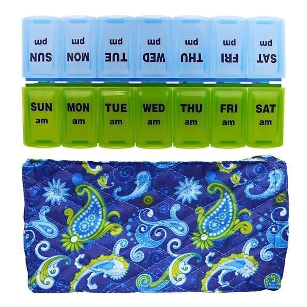 Apex, Органайзер для таблеток с декоративным чехлом, на утро и на вечер, 2 органайзера