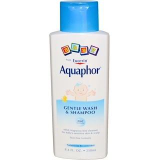 Aquaphor, Baby, Gentle Wash and Shampoo, Fragrance Free, 8.4 fl oz (250 ml)