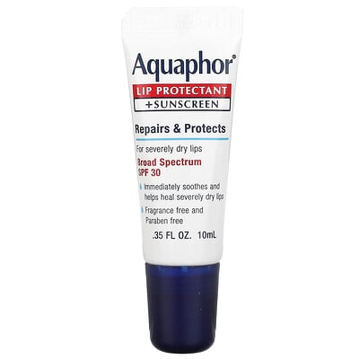 Aquaphor Lip Protectant + Sunscreen, Broad Spectrum SPF 30, 0.35 fl oz (10 ml)