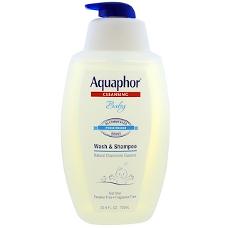 Aquaphor, Baby Wash & Shampoo, Natural Chamomile Essence, Fragrance Free, 25.4 fl oz (750 ml)