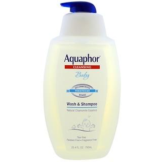 Aquaphor, Lavado y champú para bebés, esencia natural de manzanilla, 25.4 fl oz (750 ml)