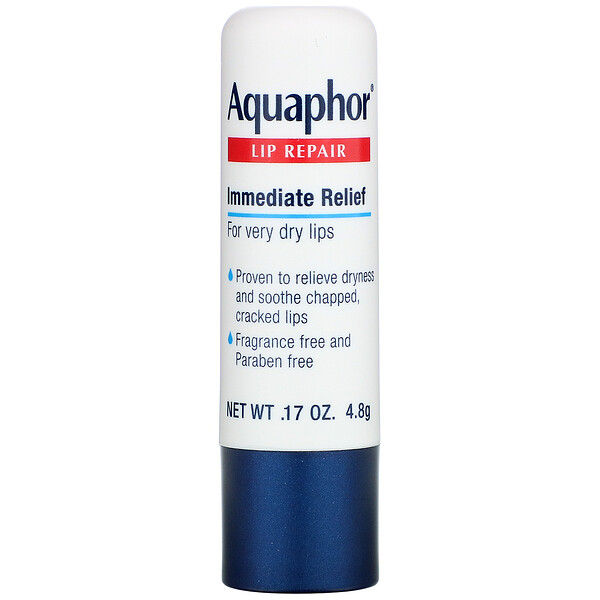 Aquaphor, Lip Repair, Stick, Immediate Relief, Fragrance Free, 1 Stick, .17 oz (4.8 g)