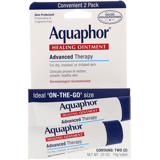 Aquaphor, Healing Ointment, Skin Protectant, 2 Tubes, 0.35 oz (10 g) Each