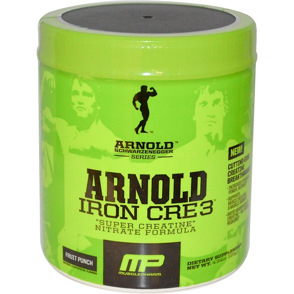 "Arnold, Iron Cre 3, ""Super Creatine"" Nitrate Formula, Fruit Punch, 4.34 oz (123 g) (Discontinued Item)"