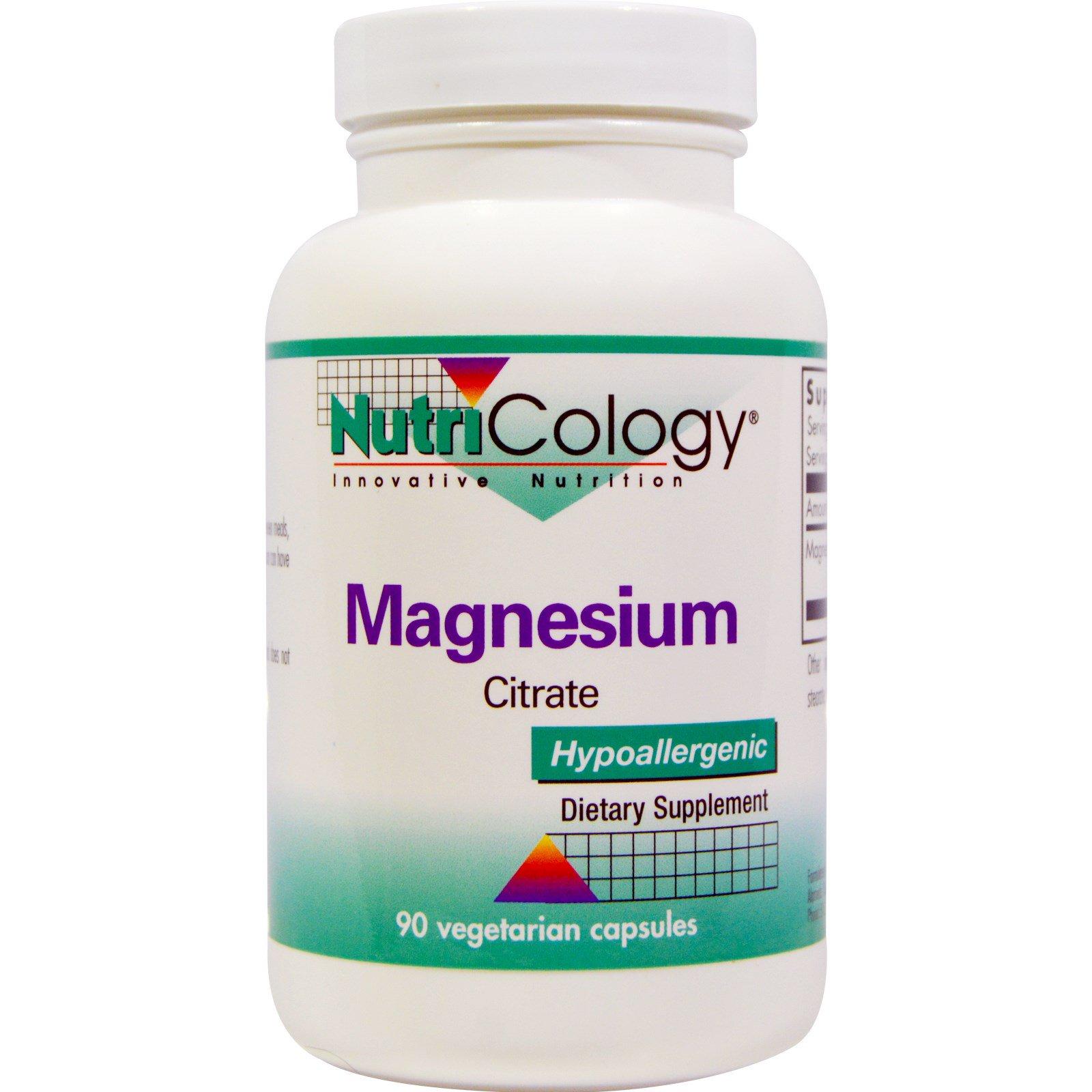 Nutricology, Цитрат магния, 90 растительных капсул