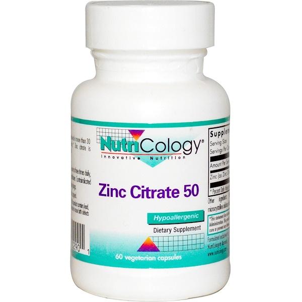 Nutricology, Zinc Citrate 50, 60 Veggie Caps