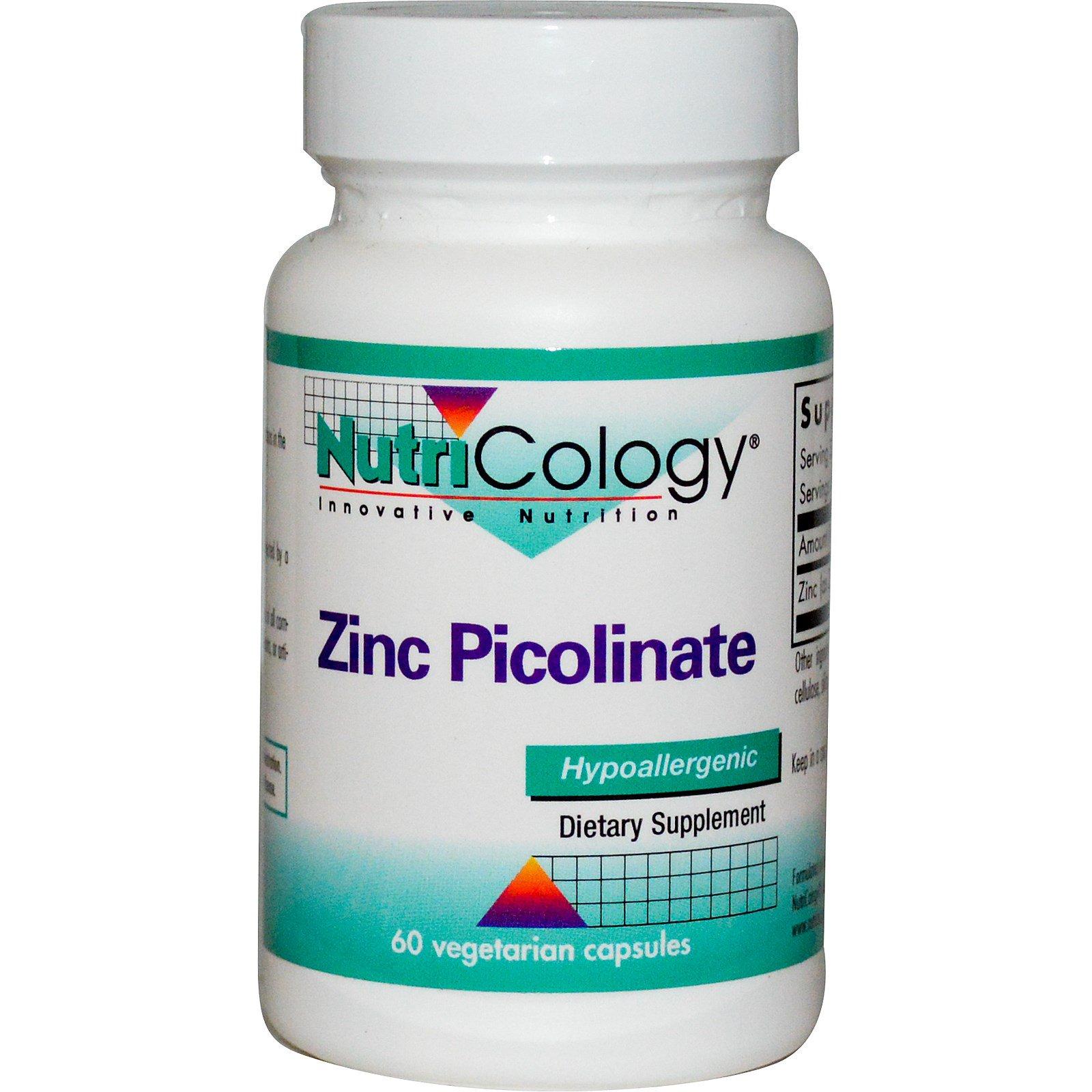 Nutricology, Цинк пиколинат, 60 растительных капсул