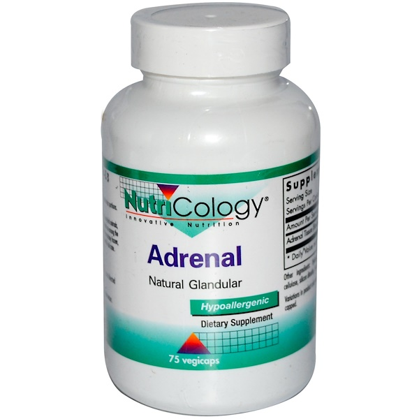 Nutricology, Adrenal, Natural Glandular, 75 Vegicaps (Discontinued Item)