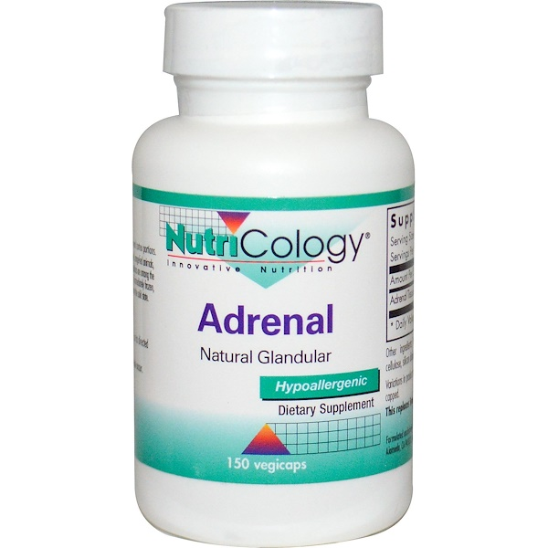 Nutricology, Adrenal, Natural Glandular, 150 Veggie Caps