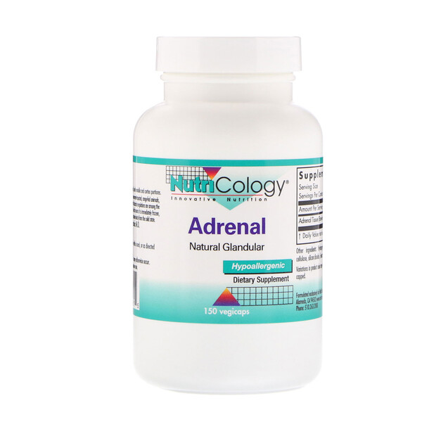 Nutricology, Adrenal, Natural Glandular, 150 Cápsulas Vegetarianas