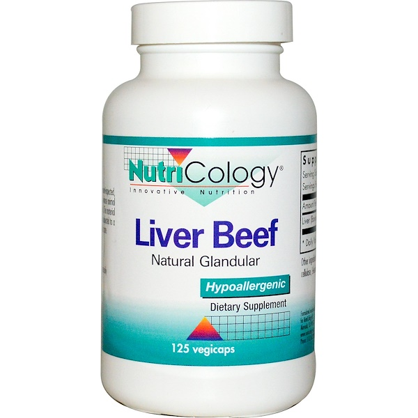 Nutricology, Liver Beef, Natural Glandular, 125 Veggie Caps