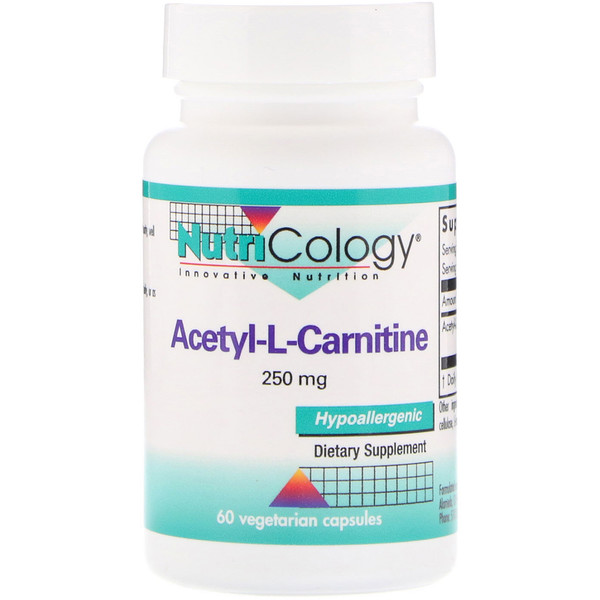 Nutricology, Acetyl-L-Carnitine, 250 mg, 60 Vegetarian Capsules (Discontinued Item)