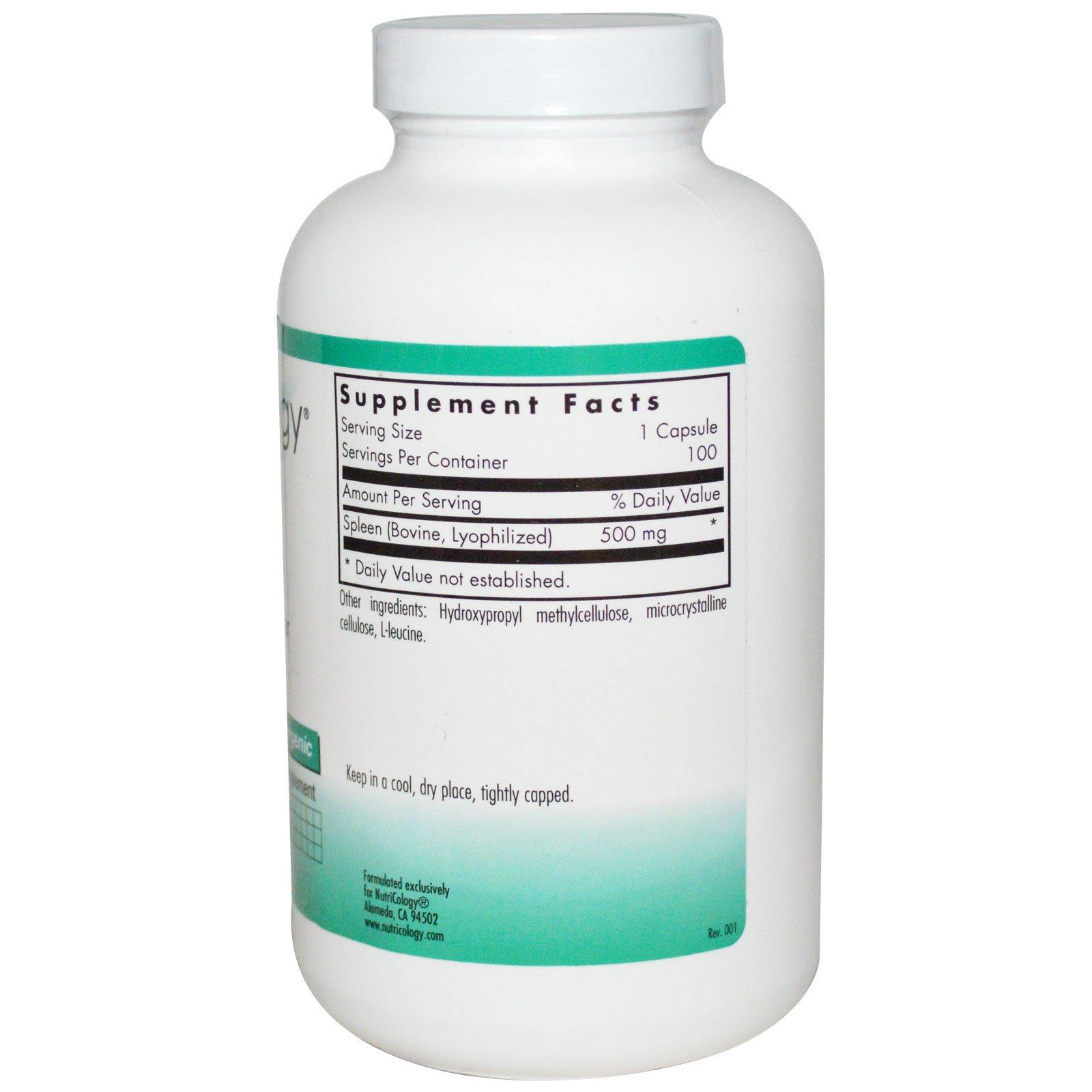 Nutricology, Spleen, Natural Glandular, 100 Veggie Caps (Discontinued Item)
