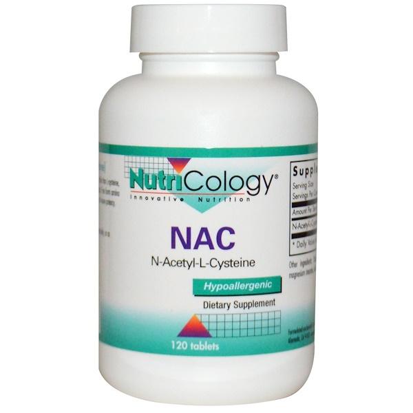 保健品氨基酸NAC(N乙酰半胱氨酸):Nutricology, N-乙酰-L-半胱氨酸片,120片