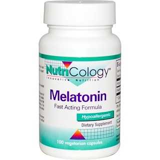 Nutricology, Мелатонин, быстродействующая формула, 100 вегетарианских капсул