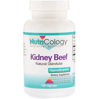 Nutricology, Kidney Beef, Natural Glandular, 100 Vegicaps