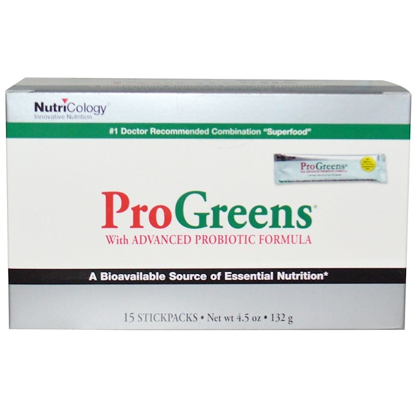 Nutricology, ProGreens, With Advanced Probiotic Formula, 15 Stickpacks, 4.5 oz (132 g) (Discontinued Item)