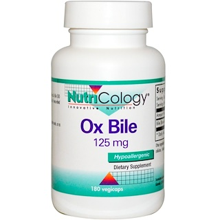 Nutricology, Ox Bile, 125 mg, 180 Vegicaps