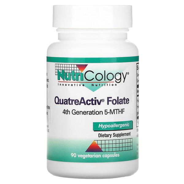 QuatreActiv葉酸、ベジタリアンカプセル90個