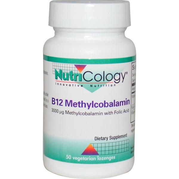 Nutricology, B12 Methylcobalamin, with Folic Acid, 50 Veggie Lozenges (Discontinued Item)