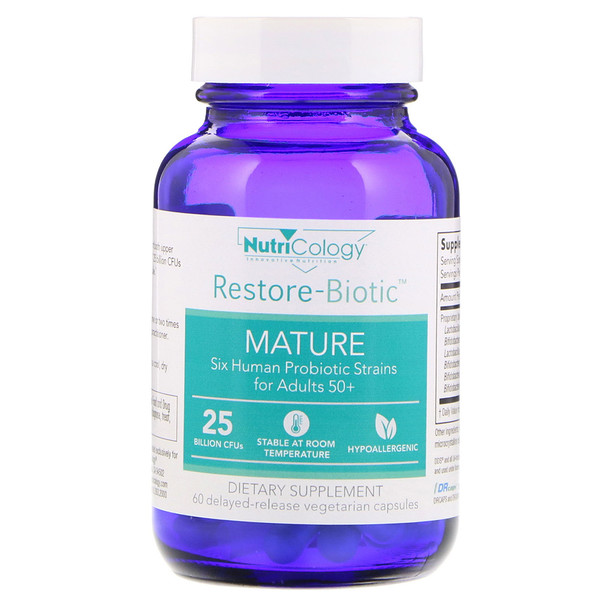 Nutricology, Restore-Biotic Mature, 25 Billion, 60 Delayed-Release Vegetarian Capsules (Discontinued Item)