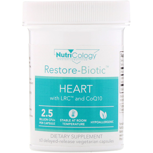 Restore-Biotic, Heart with LRC and CoQ10, 2.5 Billion CFU, 60 Delayed-Release Vegetarian Capsules