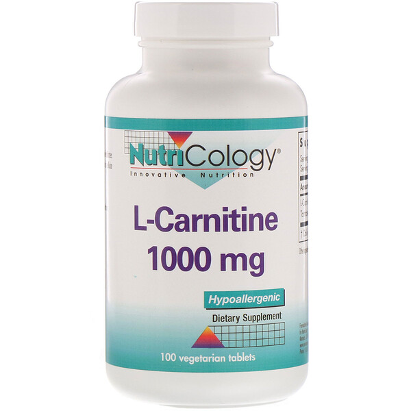L-Carnitine, 1,000 mg, 100 Vegetarian Tablets