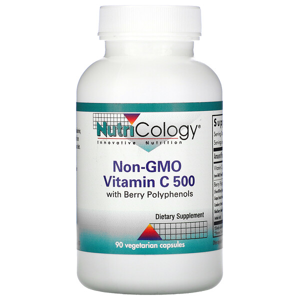 Non-GMO Vitamin C 500  with Berry Polyphenols, 90 Vegetarian Capsules
