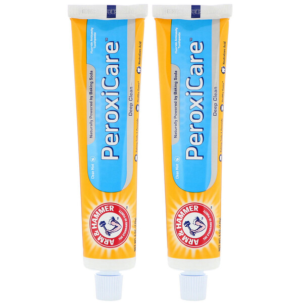 PeroxiCare, Deep Clean, Fluoride Anticavity Toothpaste, Clean Mint, Twin Pack, 6.0 oz (170 g) Each