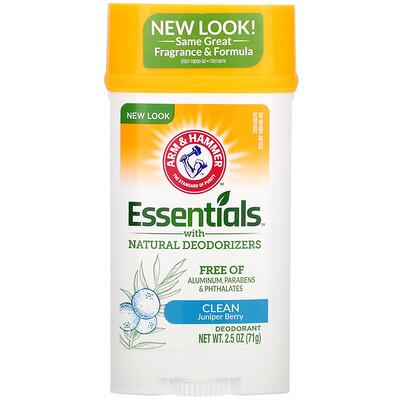 Купить Arm & Hammer Essentials, дезодорант, с натуральными дезодорирующими компонентами, чистота, можжевеловая ягода, 71г (2, 5унции)