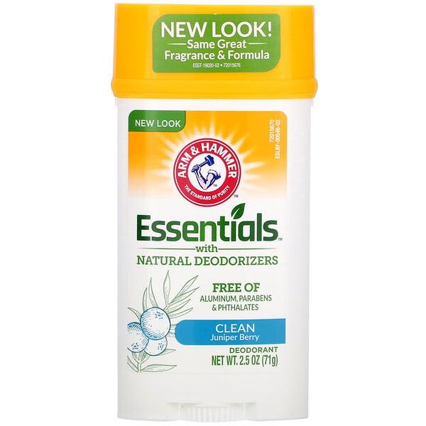 Arm & Hammer, Essentials, дезодорант, с натуральными дезодорирующими компонентами, чистота, можжевеловая ягода, 71г (2,5унции)
