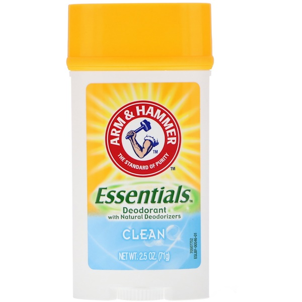 Arm & Hammer, Essentials Natural Deodorant, For Men, Clean, 2、5 oz (71 g)