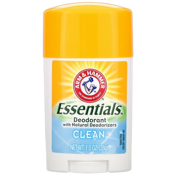 Arm & Hammer, Essentials with Natural Deodorizers, Deodorant, Clean, 1.0 oz (28 g) (Discontinued Item)