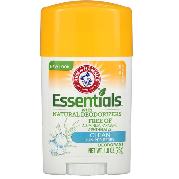 Arm & Hammer, Essentials, дезодорант, с натуральными дезодорирующими компонентами, очищающий, 28 г (1,0 унции) (Discontinued Item)