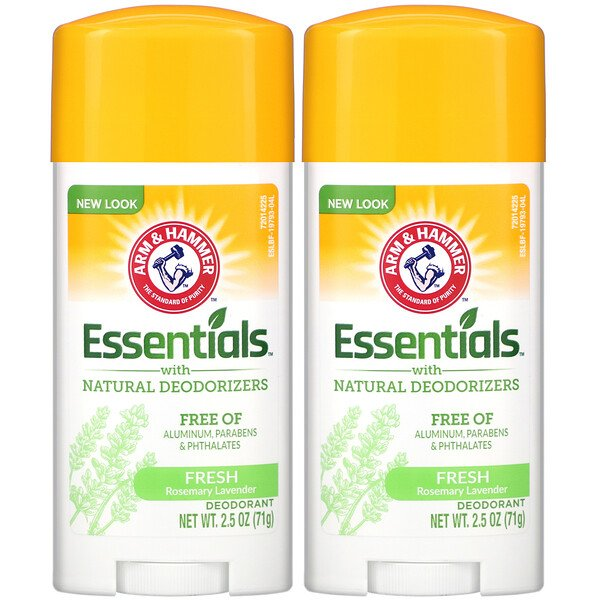 Arm & Hammer, Essentials with Natural Deodorizers, Deodorant, Fresh Rosemary Lavender, Twin Pack, 2.5 oz (71 g) Each