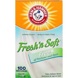 Arm & Hammer, Fresh 'N Soft Fabric Softener Sheets, Free, 100 Sheets отзывы
